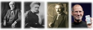 'A Few Good Innovators' - From left to right: Thomas Edison, Marie Curie, Albert Einstein, Steve Jobs