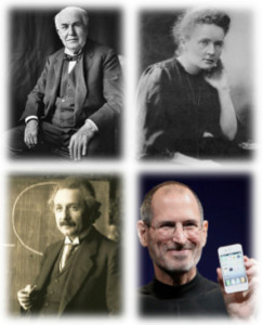 'A Few Good Innovators' - Clockwise from top left: Thomas Edison, Marie Curie, Steve Jobs, Albert Einstein