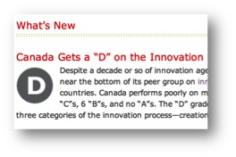 How Canada Performs - Innovation - courtesy of the Conference Board of Canada